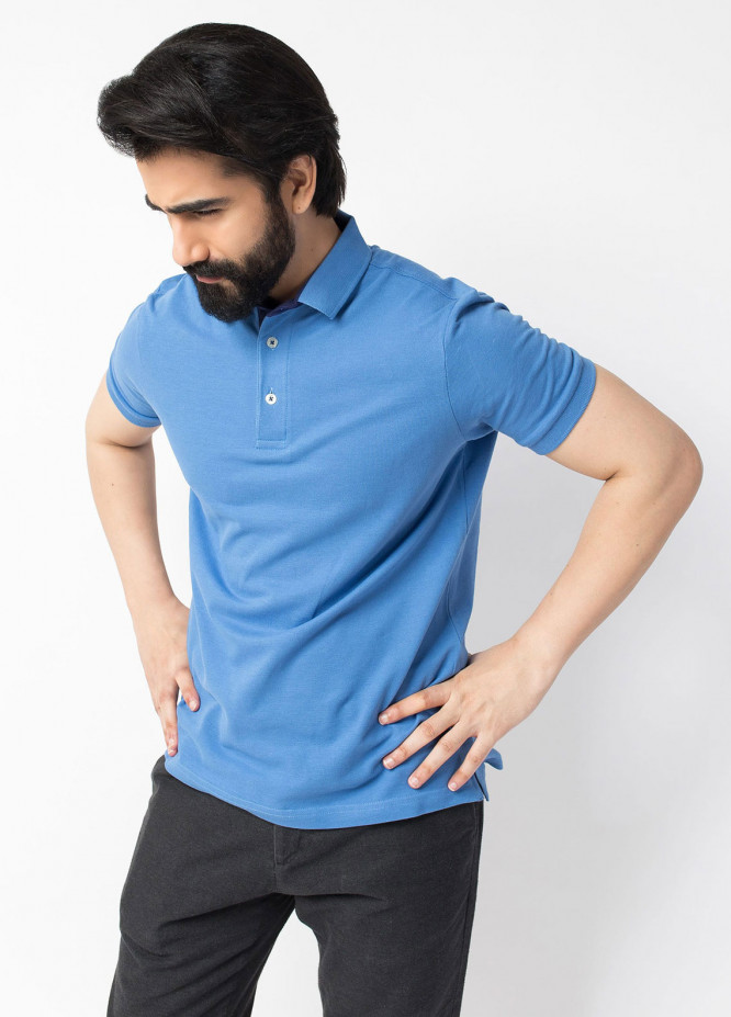 Brumano Cotton Polo Shirts for Men - Blue BRM-44-331