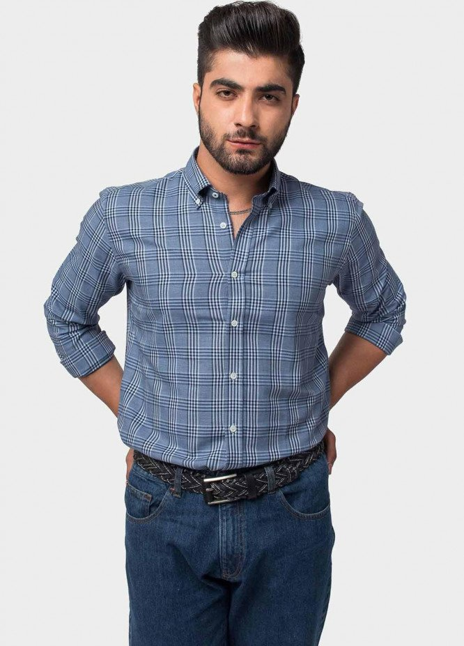 Brumano Cotton Formal Men Shirts -  BM20LS Blue Shepherd Checkered Shirt