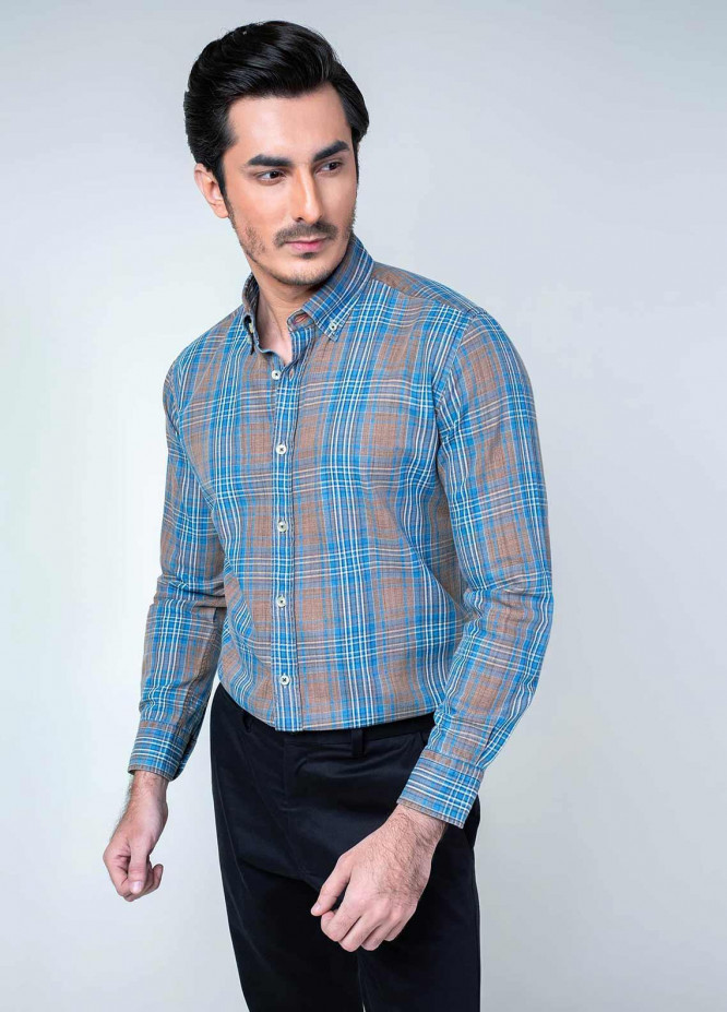 Brumano Cotton Formal Shirts for Men -  BM20SH (0-31-0019-995-1) Blue & Brown Indigo Dyed Shirt