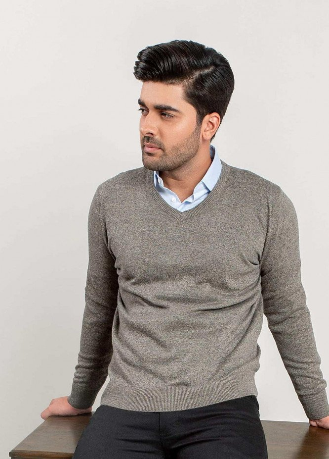 Brumano Cotton Full Sleeves Men Sweaters -  BM20WS Anthracite Brown V-Neck Sweater