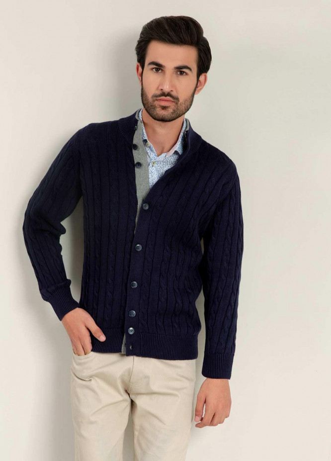 Brumano Cotton Full Sleeves Cardigan Sweaters for Men -  BM20WS Navy Blue Cable Knitted Cardigan
