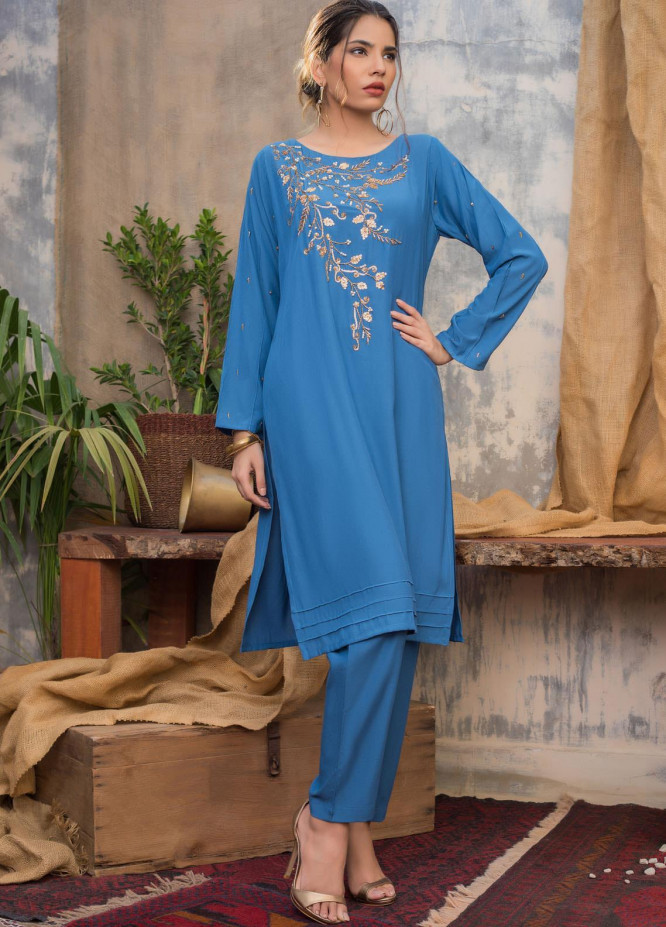 Sheep Casual Cotton Silk Stitched 2 Piece Suit SH20CR BS200640 Teal Blue