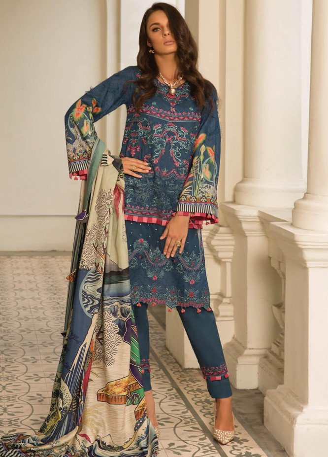 Carnation by Rang Rasiya Embroidered Lawn Unstitched 3 Piece Suit RR20C D-127 Teal Mist - Luxury Collection