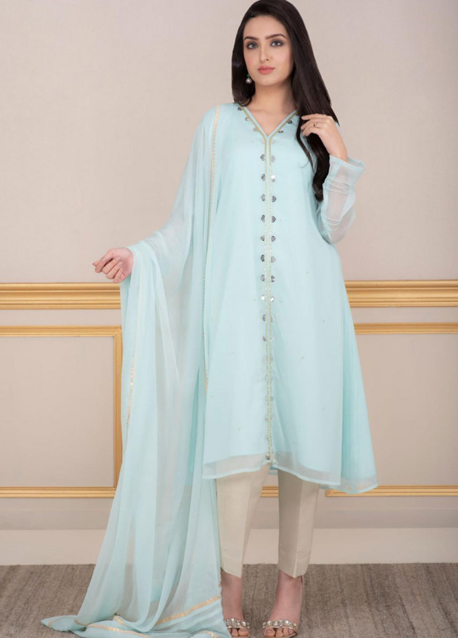 Change Embroidered Chiffon Stitched 2 Piece Ladies 2Pc Suit CK2246 Aqua-S