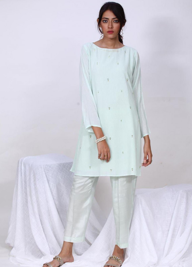 Change Embroidered Cotton Stitched Kurtis  CK2306 Mint