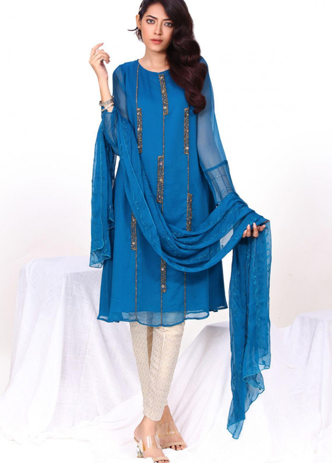 Change Embroidered Chiffon Stitched 2 Piece Suit CK2308 DK Teal