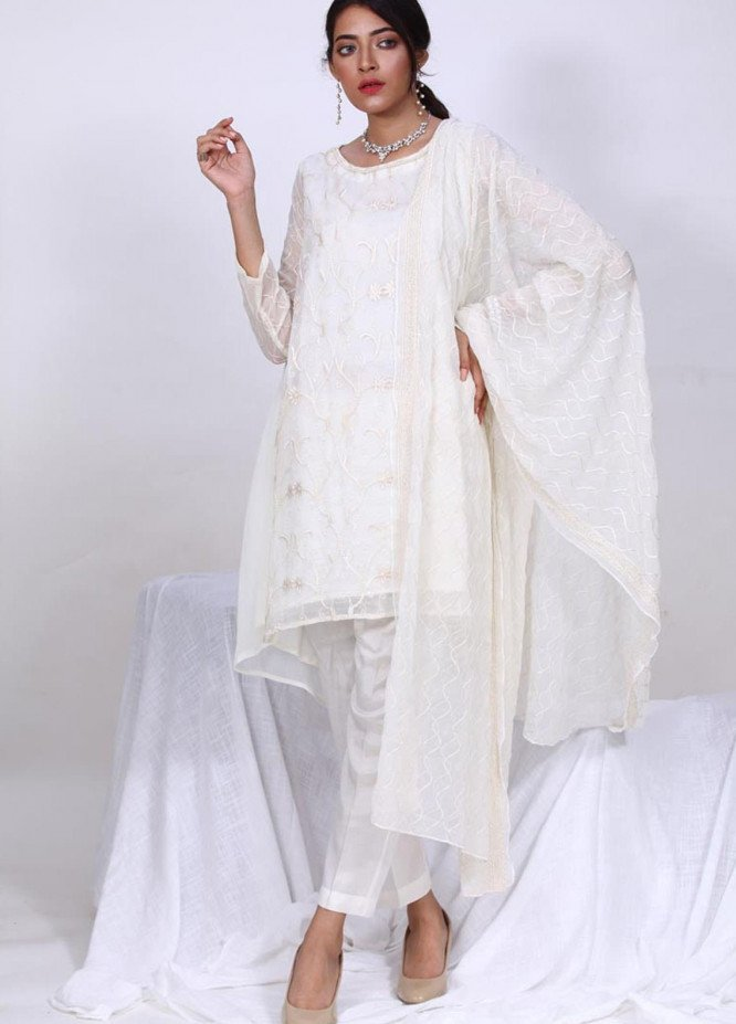 Change Embroidered Chiffon Stitched 3 Piece Suit  ECH142 Ivory