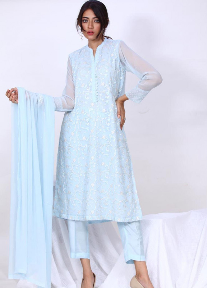 Change Embroidered Chiffon Stitched 3 Piece Suit  ECH144 Chambray