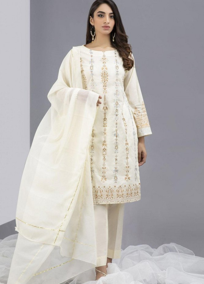 Change Embroidered Chiffon Stitched 3 Piece Suit CK2276 IVORY