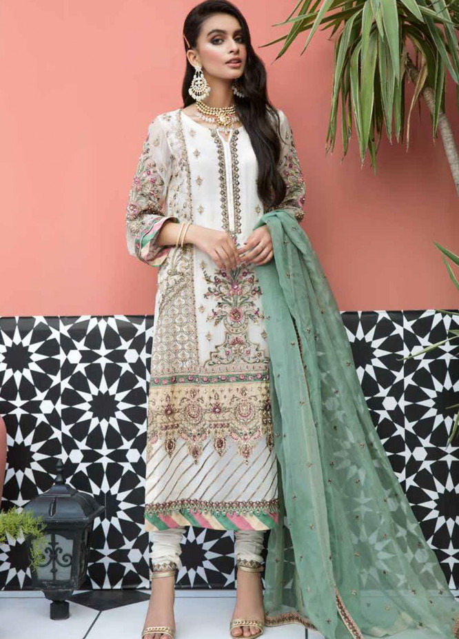 Mehrosh by Charizma Embroidered Chiffon Unstitched 3 Piece Suit CRZ20WE 12 Ivory Lace - Wedding Collection