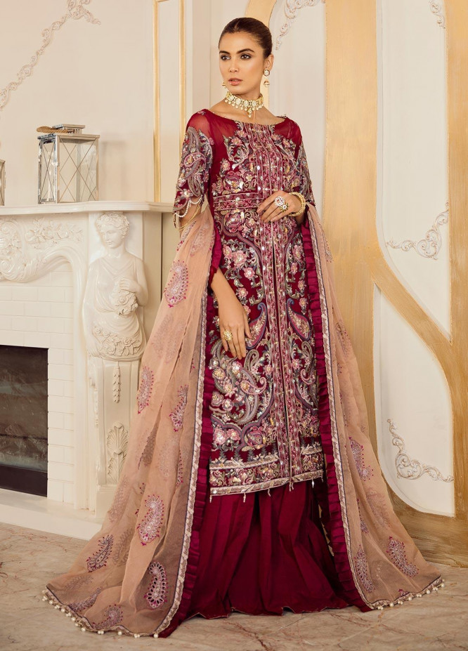 Rouche Embroidered Organza Unstitched 3 Piece Suit RCH20DX 2 - Luxury Collection