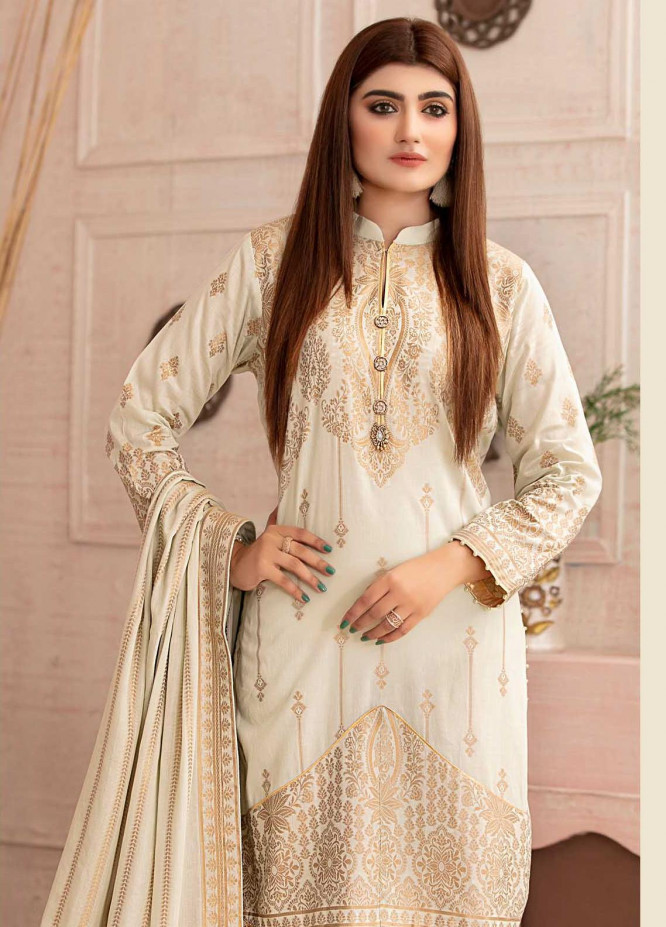 Deluxe by Riaz Arts Banarsi Broschia Unstitched 3 Piece Suit RA20D RA-46 - Spring / Summer Collection