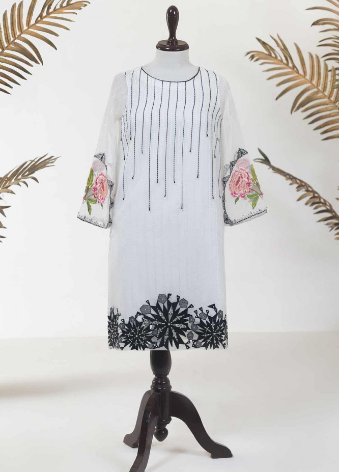 Dhanak Embroidered Tissue Stitched Kurties DA-1117 WHITE