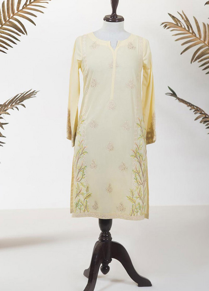 Dhanak Embroidered Lawn Stitched Kurti DC-0218 YELLOW