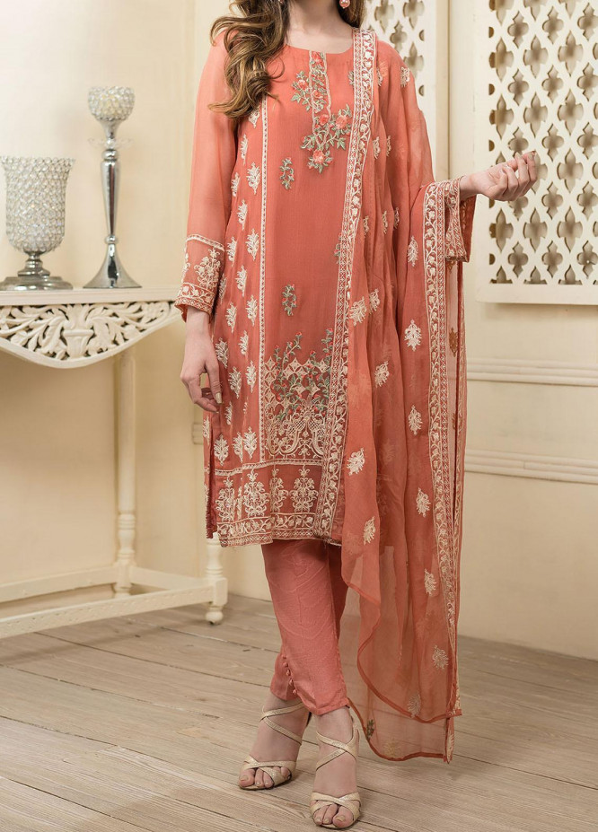 Dhanak Embroidered Chiffon Unstitched 3 Piece Suit DK20LC DU-0017 RUST - Luxury Collection