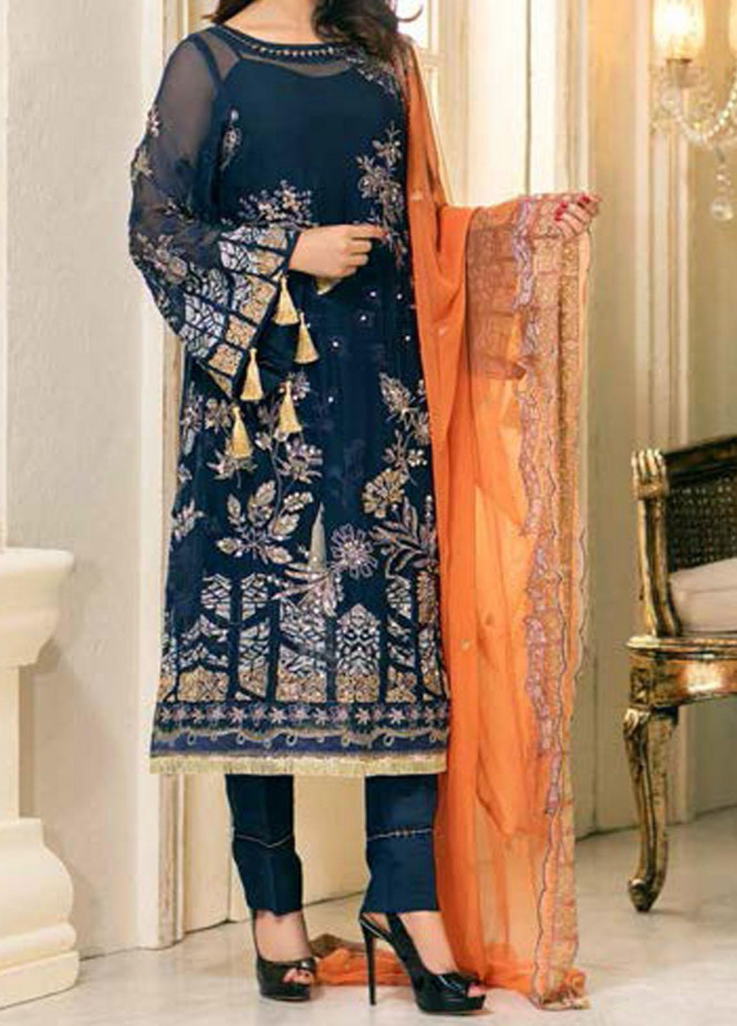 Elegance by Noor Jahan Embroidered Chiffon Unstitched 3 Piece Suit NJ20EC 03 Porpoise - Luxury Collection