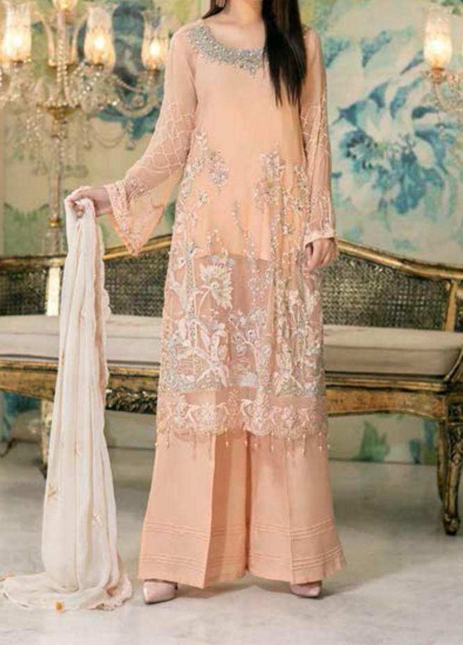 Elegance by Noor Jahan Embroidered Chiffon Unstitched 3 Piece Suit NJ20EC 06 Seaweed - Luxury Collection