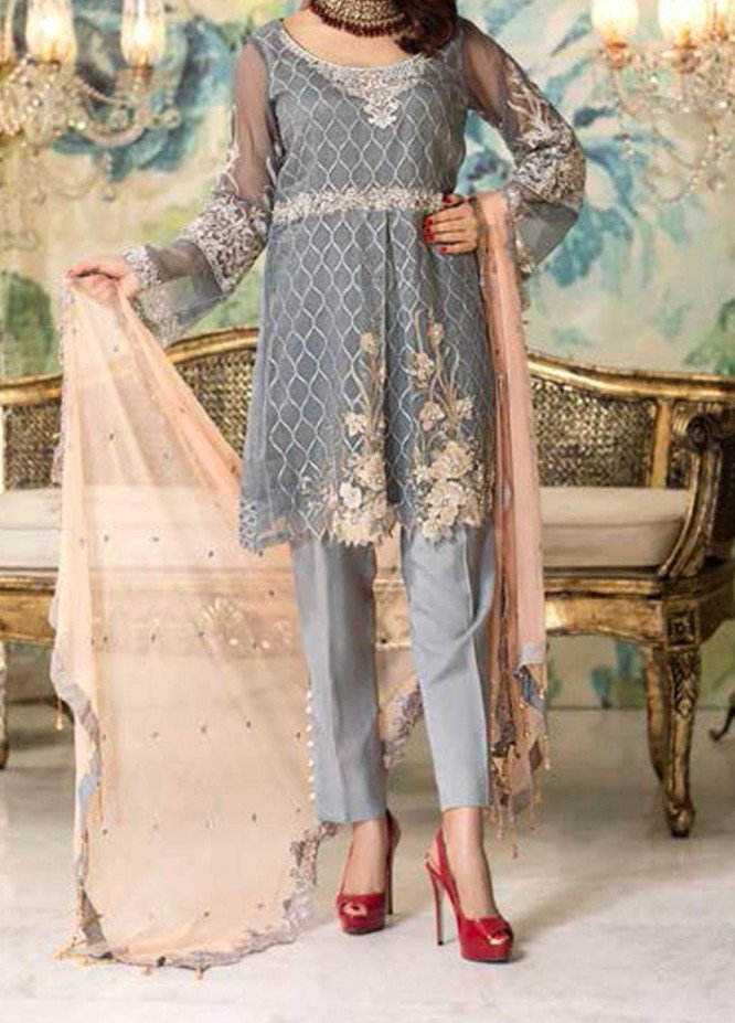 Elegance by Noor Jahan Embroidered Chiffon Unstitched 3 Piece Suit NJ20EC 07 Denim - Luxury Collection