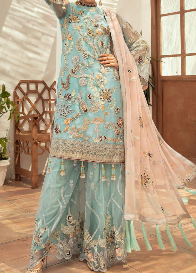 Emaan Adeel Embroidered Organza Unstitched 3 Piece Suit EA20-C13 1302 - Luxury Collection