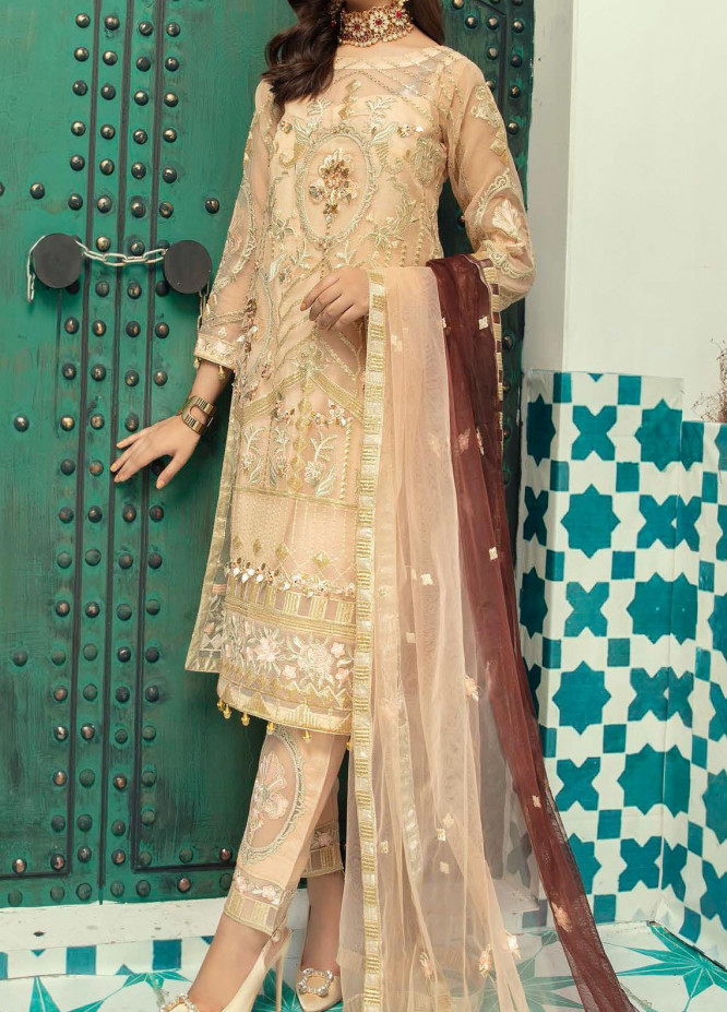 Emaan Adeel Embroidered Organza Unstitched 3 Piece Suit EA20-C13 1308 - Luxury Collection
