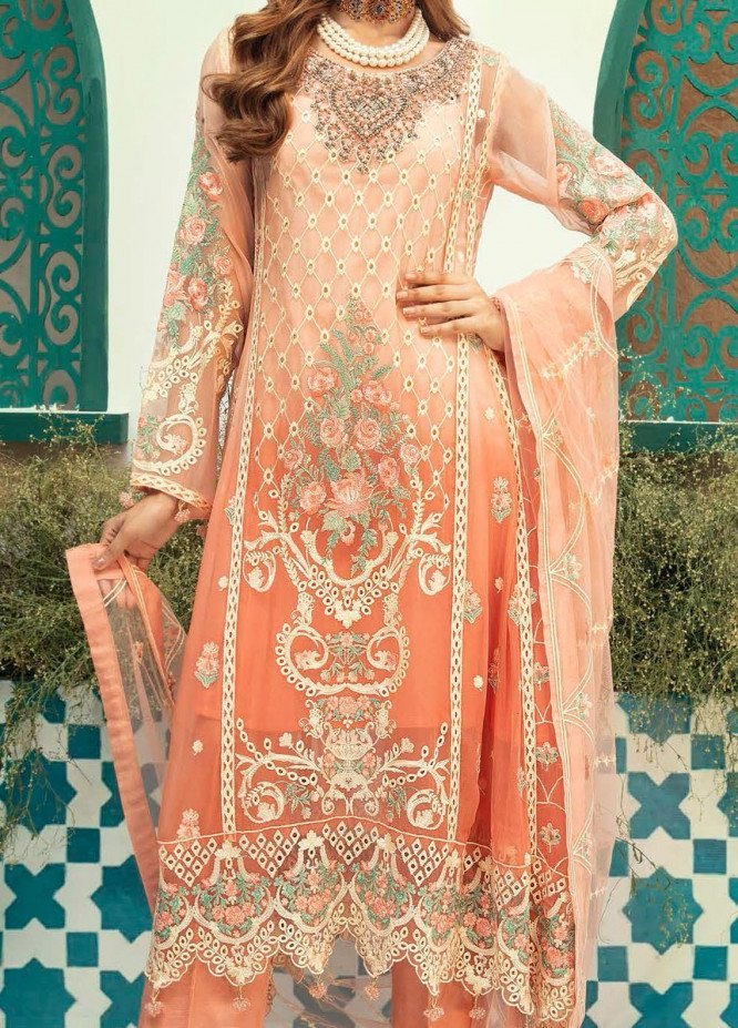 Emaan Adeel Embroidered Chiffon Unstitched 3 Piece Suit EA20-C13 1310 - Luxury Collection