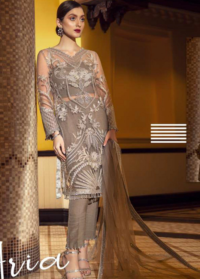 Epoque Embroidered Net Unstitched 3 Piece Suit EP20A 07 Aria - Luxury Collection