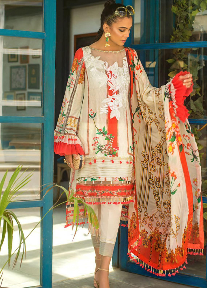 Erum Khan Embroidered Lawn Unstitched 3 Piece Suit EK20L D-09A - Eid Collection