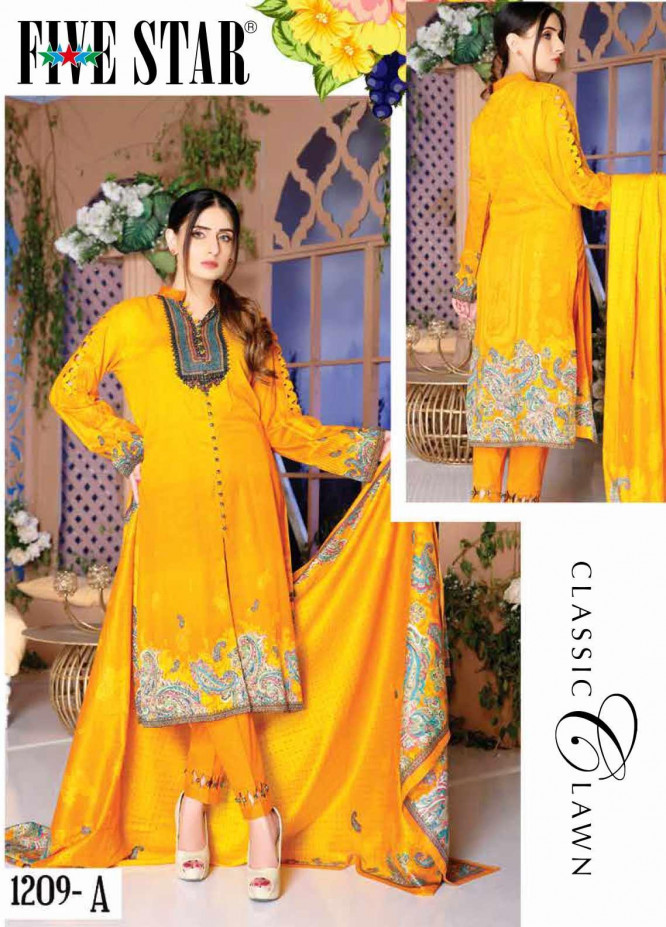 Five Star Printed Lawn Unstitched 3 Piece Suit FS20CL-1 1209A - Spring / Summer Collection