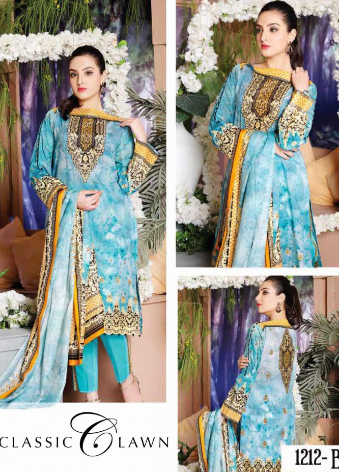Five Star Printed Lawn Unstitched 3 Piece Suit FS20CL-1 1212B - Spring / Summer Collection