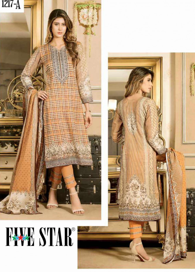 Five Star Printed Lawn Unstitched 3 Piece Suit FS20CL 1217A - Spring / Summer Collection