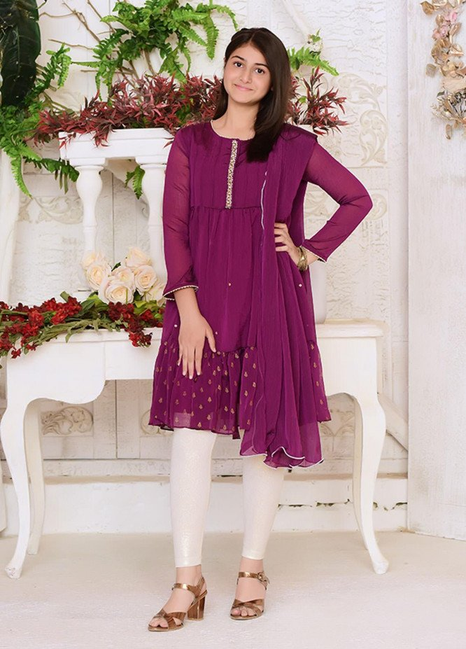Ochre Chiffon Formal Girls 3 Piece Suit -  OFW 245 Purple