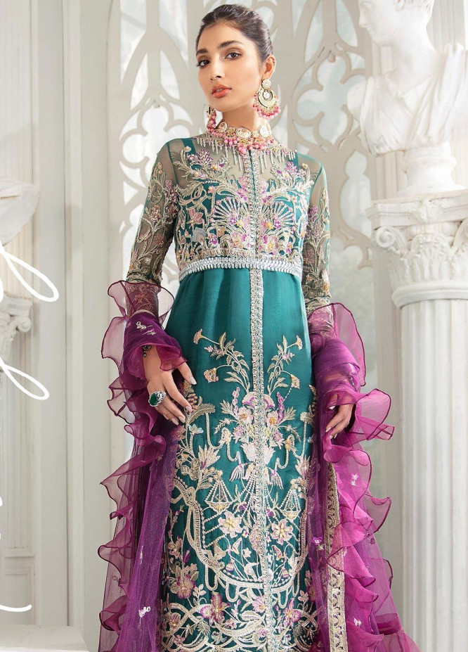 Freesia by Suffuse Embroidered Net Unstitched 3 Piece Suit FRS19W Mulberry Green - Wedding Collection