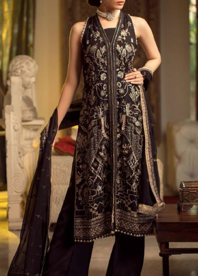 Ghazal by AIK Atelier Embroidered Chiffon Unstitched 3 Piece Suit AK20G LOOK-01 - Luxury Collection