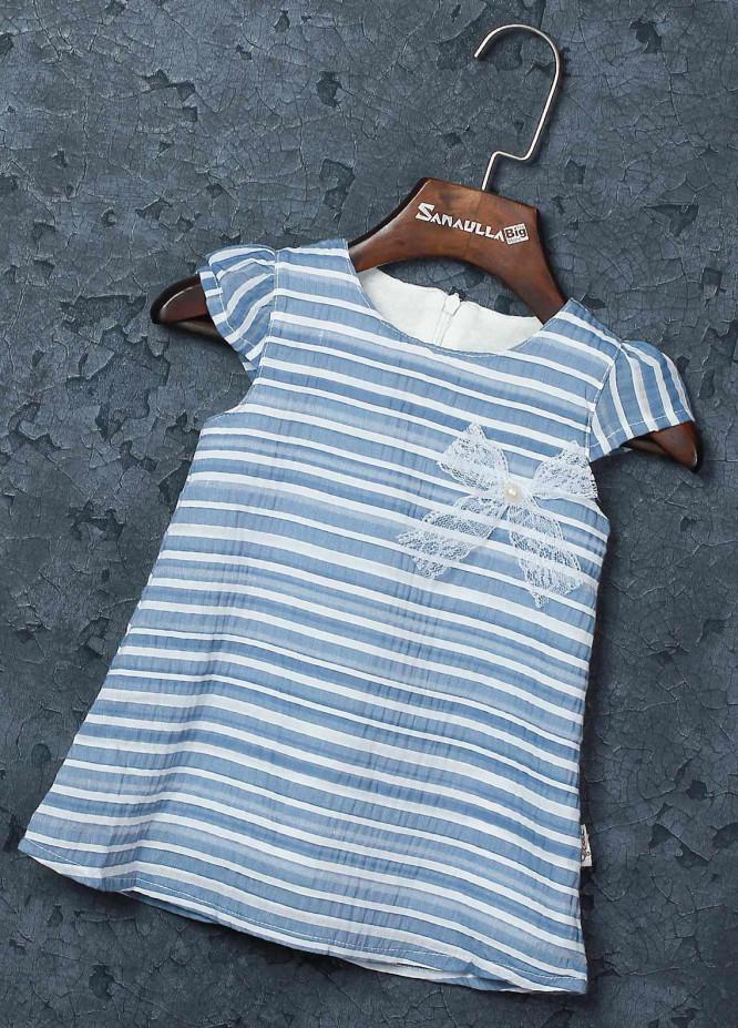 Sanaulla Exclusive Range Mix Cotton Fancy Frocks for Girls -   229158 Blue
