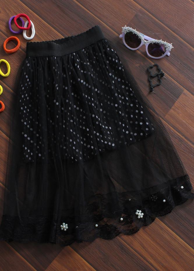 Sanaulla Exclusive Range Cotton Net Fancy Girls Skirts -  818 Black