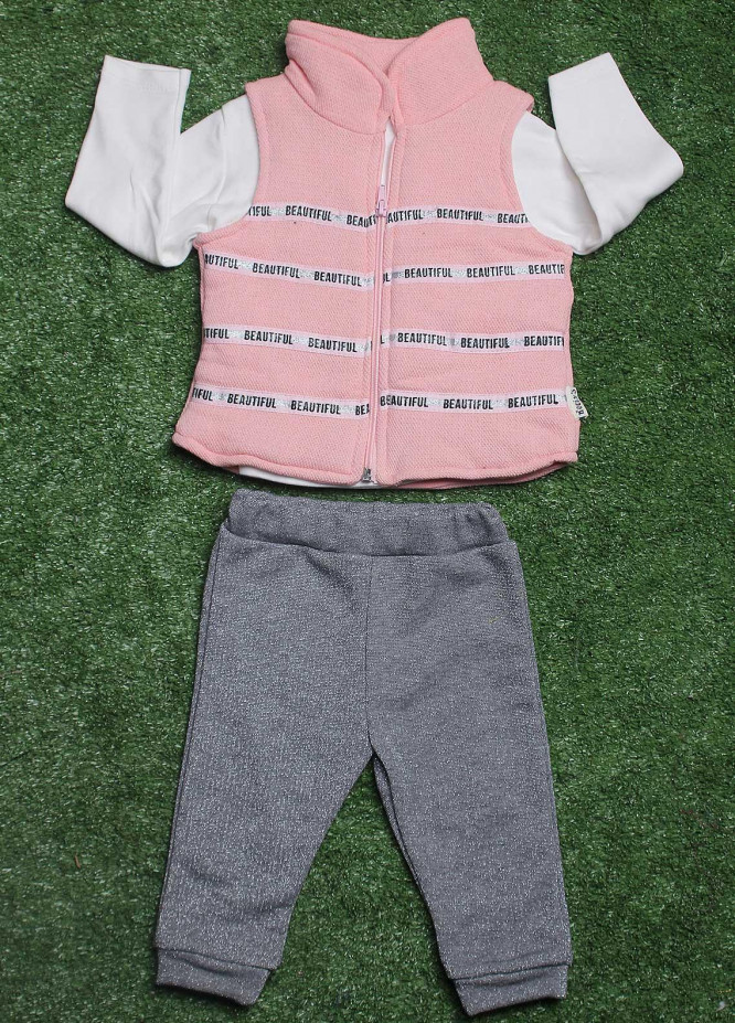 Sanaulla Exclusive Range Cotton Fancy 3 Piece Suit for Girls -  9225 Pink