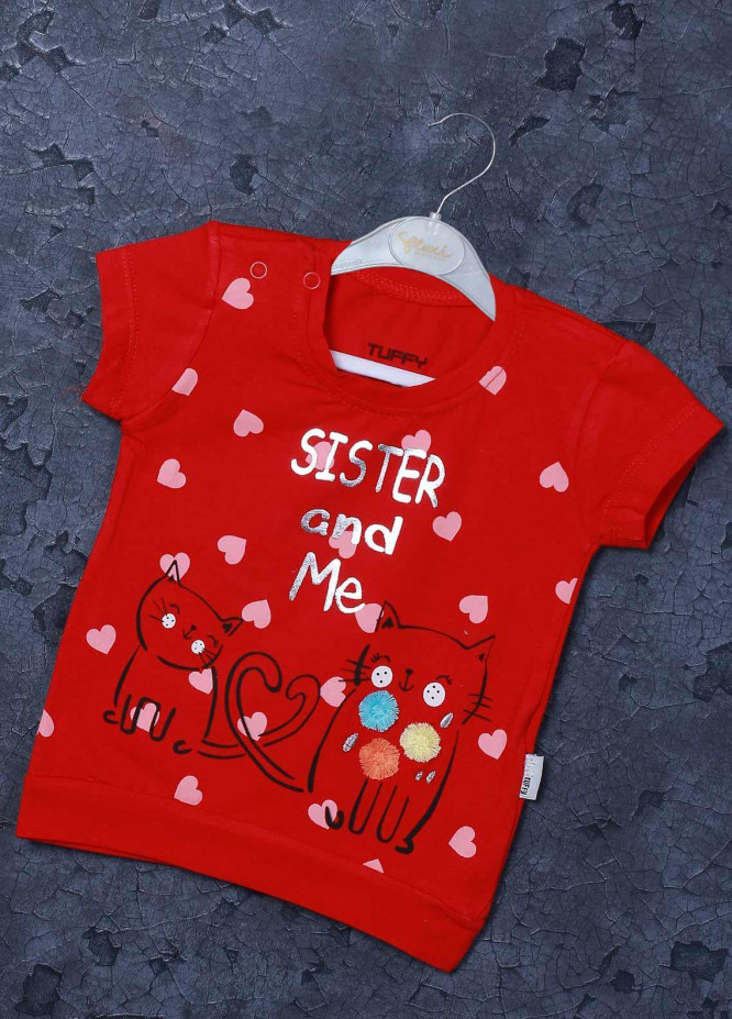 Sanaulla Exclusive Range Mix Cotton Printed T-Shirts for Girls -  98255 Red
