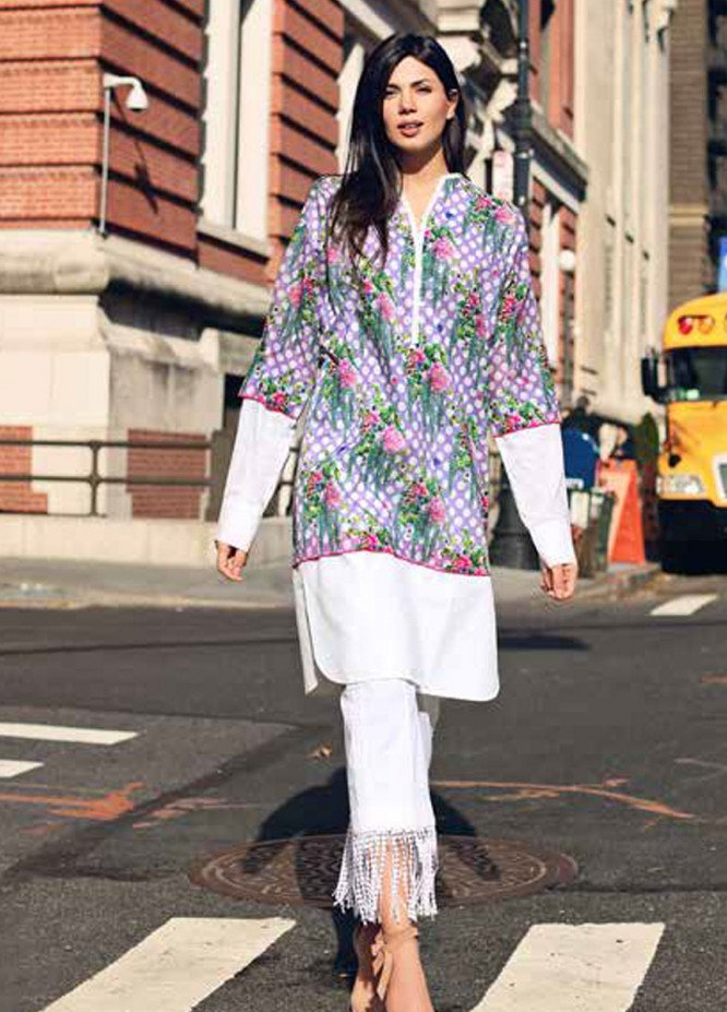 Gul Ahmed Printed Lawn Unstitched Kurties GBC19MFL SL 517A - Spring Summer Collection