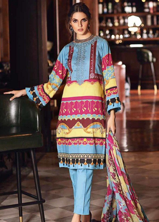 Gul Ahmed Embroidered Cambric Unstitched 3 Piece Suit GA19CF C-518 - Mid Summer Collection