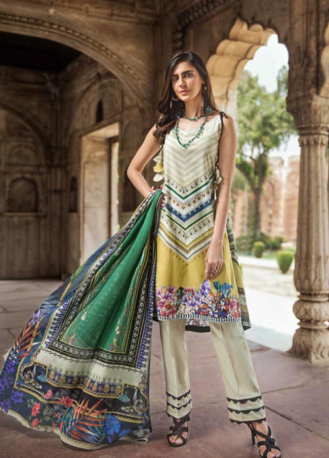 Gul Ahmed Printed Cambric Unstitched 3 Piece Suit GA19CF CBN-102 A - Mid Summer Collection