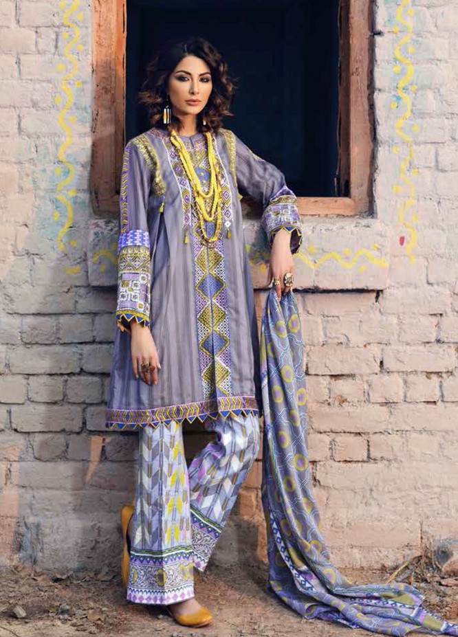 Gul Ahmed Gypsy Embroidered Cotton Unstitched 3 Piece Suit GAG19L GL-20 - Spring / Summer Collection