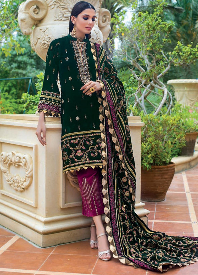 Gul Ahmed Embroidered Velvet Unstitched 3 Piece Suit GA19NC VLW 17 PLATINUM - Winter Collection