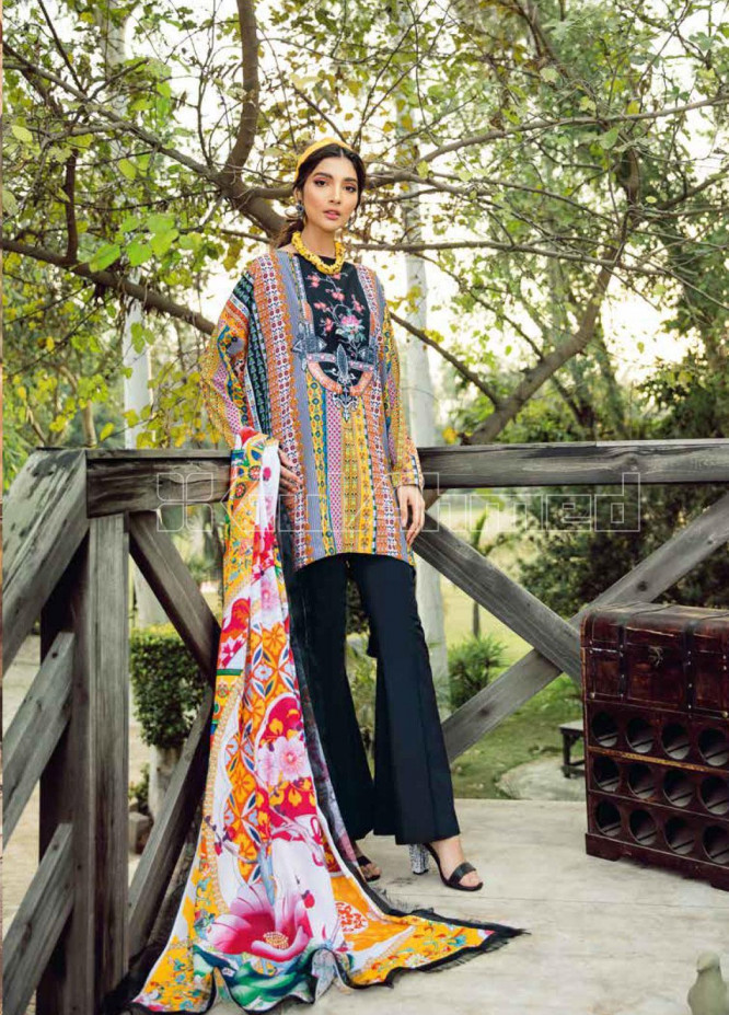 Gul Ahmed Embroidered Lawn Unstitched 3 Piece Suit GA20SBL CL 915 - Summer Collection