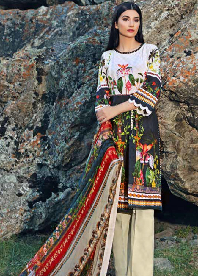 Gul Ahmed Printed Khaddar Unstitched 3 Piece Suit GA19W BM-136 - Winter Collection