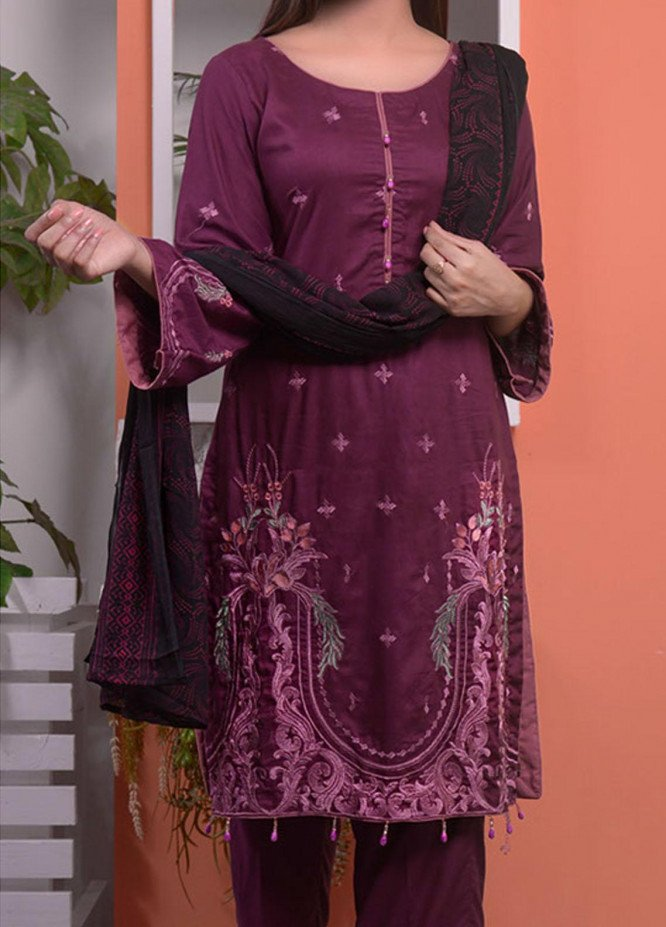 Halima Sultan Embroidered Linen Unstitched 3 Piece Suit HS20LW D-01 - Winter Collection