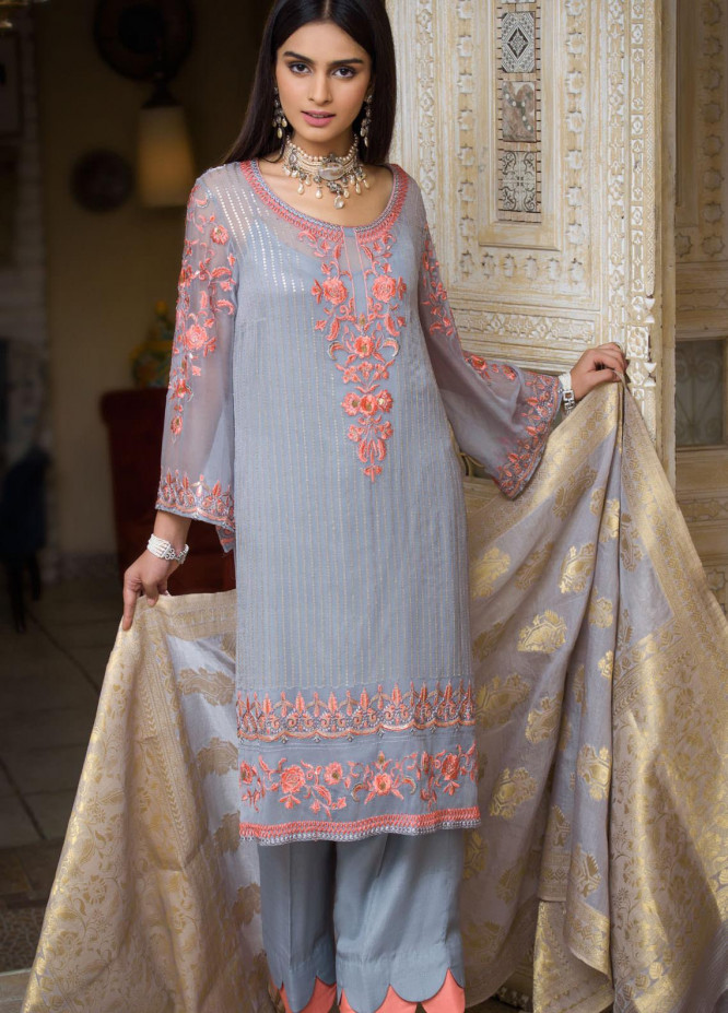 Honey Waqar by Regalia Textiles Embroidered Chiffon Unstitched 3 Piece Suit RGT20HW Mumtaz Mahal - Luxury Collection