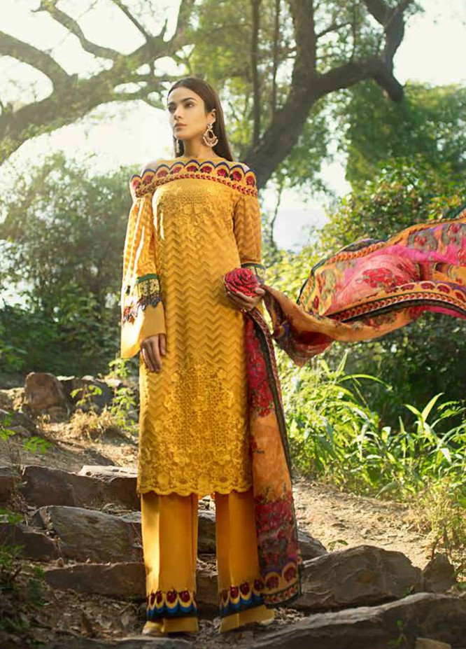 Honey Waqar By ZS Textile Embroidered Chiffon Unstitched 3 Piece Suit HWC19EC 05 Art De Camion - Luxury Collection