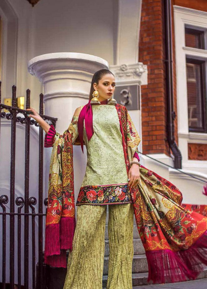 Honey Waqar Embroidered Lawn Unstitched 3 Piece Suit HW19F 7A BOGINYA BOTANICA - Festive Collection