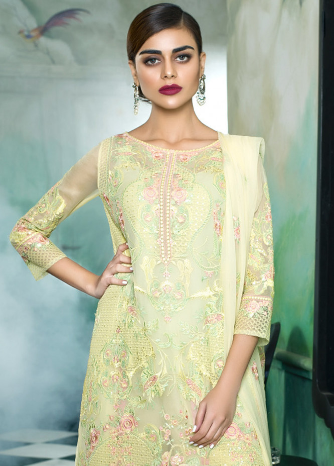 Honey Waqar Embroidered Chiffon Unstitched 3 Piece Suit HW18C 09 - Eid Collection