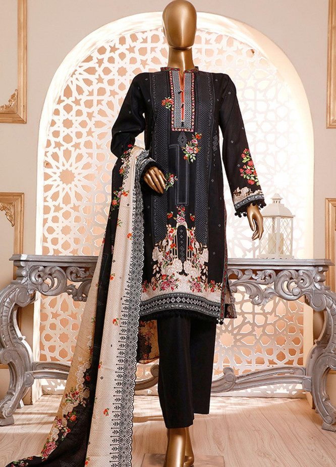 HZ Textiles Embroidered Cambric Unstitched 3 Piece Suit HZ20DC 01 Black - Winter Collection